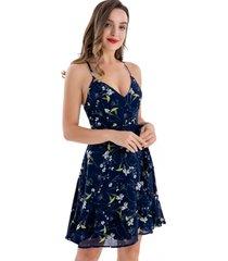 vestido floral vuelos azul nicopoly