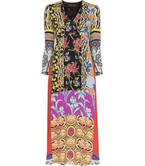 etro patchwork print midi dress - green