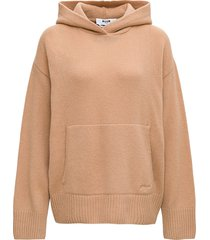 msgm camel-colored wool and cashmere hoodie