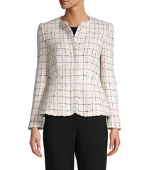 textured plaid cotton-blend jacket