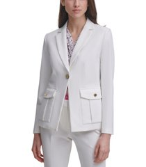 dkny one-button knit blazer