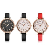 orologi al quarzo trendy cinturino in pelle a quadrante tondo big digital simple wirstwatches per donna