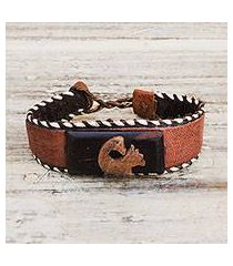 ebony wood and leather cuff bracelet, 'charming sankofa' (ghana)
