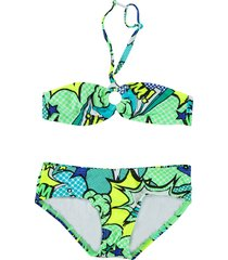 just beach / groene bandeau bikini brazilie cartoon blue blauw
