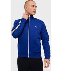 fred perry taped track jacket tröjor cobalt