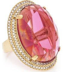 anel de cristal rosa zirconias kumbayá joias