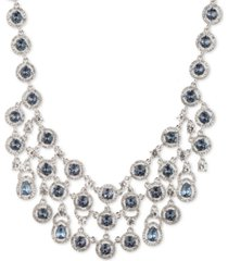 """givenchy silver-tone stone & crystal halo multi-row statement necklace, 16"""" + 3"""" extender"""