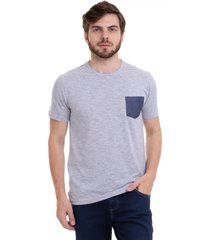 camiseta listrada com bolso hifen azul - kanui