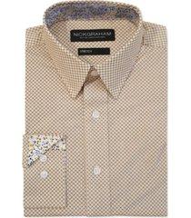 nick graham men's modern-fit diamond grid shirt