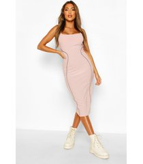 contrast stitch panelled midi dress, lilac