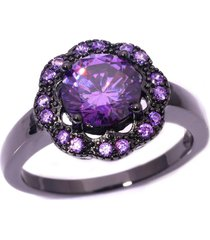 14k black gold plated purple amethyst flower engagement ring for womens