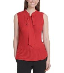 dkny sleeveless tie-neck pleated top