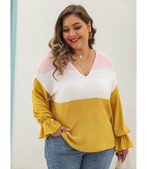 plus tamaño bloque de color correa elástica cuello en v manga larga suéter