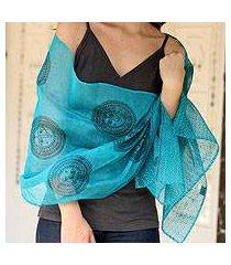 cotton and silk shawl, 'india sun' (india)