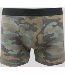 cueca boxer estampada camuflada verde militar