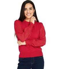 sweater manga floral rojo nicopoly