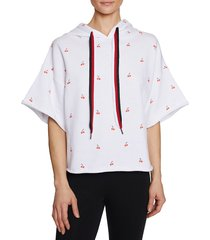 betsey johnson performance women's cherry-print french terry hoodie - white - size s