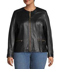 plus full-zip leather jacket