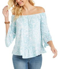 style & co petite on/off-shoulder printed top, created for macy's