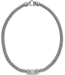 diamond barrel necklace in sterling silver (1/4 ct. t.w.)