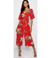 large floral capped sleeve jumpsuit, red