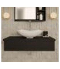 conjunto para banheiro bancada com cuba l42 abaulada city 800 preto ônix