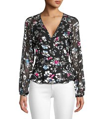 floral wrapped tie blouse