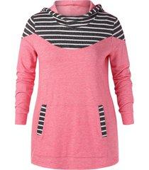plus size striped longline hoodie