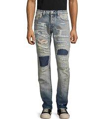 rocker slim-fit distressed straight jeans