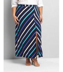 lane bryant women's pull-on matte jersey maxi skirt with slit 22/24 blue multi stripe