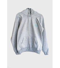 buzo-hoodie logo bordado hombre gris-aguamarina kuva - elefante