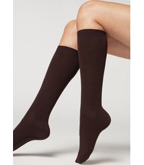 calzedonia long socks with cashmere woman brown size 39-41