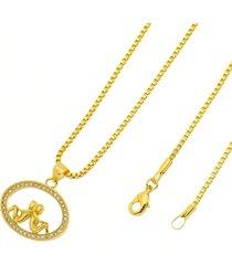 gargantilha casal folheada a ouro 18k tudo jóias com corrente veneziana dourada