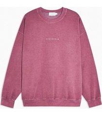mens burgundy stockholm print sweatshirt