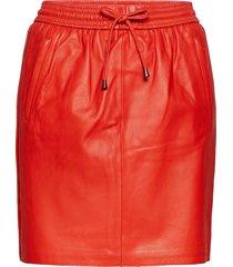 ivana leather skirt kort kjol röd second female