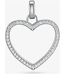 mk ciondolo oversize a cuore in argento sterling placcato oro 14k e pavé - argento (argento) - michael kors