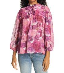 women's loveshackfancy gamela tie neck silk top, size large - pink