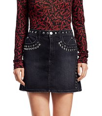 grommet & stud denim mini skirt
