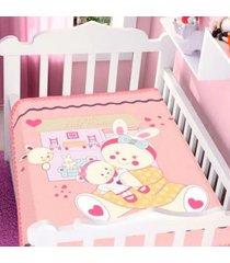cobertor infantil jolitex raschel casa de boneca feminino - kanui