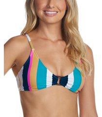 raisins juniors' belle mar striped printed o-ring bralette bikini top, created for macy's women's swimsuit