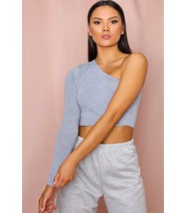 one shoulder long sleeve crop top, grey marl