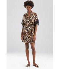 natori luxe leopard short sleeves sleep/lounge/bath wrap / robe, women's, chestnut, size s natori
