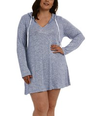 la blanca beach sweater hoodie cover up, size 3x in indigo at nordstrom