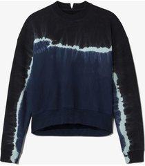 proenza schouler white label tie dye sweatshirt navy/aqua/black/blue l