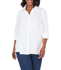 plus size women's foxcroft pamela non-iron stretch tunic blouse, size 24w - white