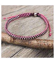 silver accent braided bracelet, 'pink maroon progression' (thailand)