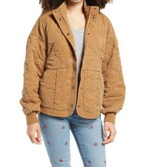 women's blanknyc quilted jacket, size medium - beige