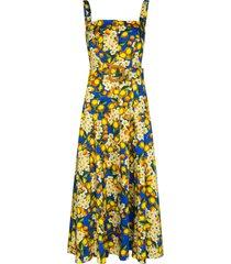 borgo de nor camilla belted lemon-print dress - blue