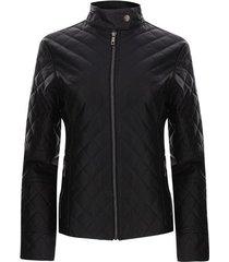 chaqueta mujer rombos color negro, talla l