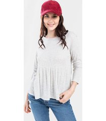 hollie thermal babydoll tee - heather oat